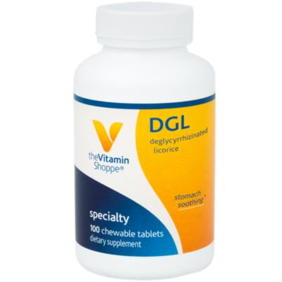 - The Vitamin Shoppe DGL (Deglycyrrhizinated Licorice) 760MG, Stomach Soothing Herbal Supplement (100 Chewable Tablets)