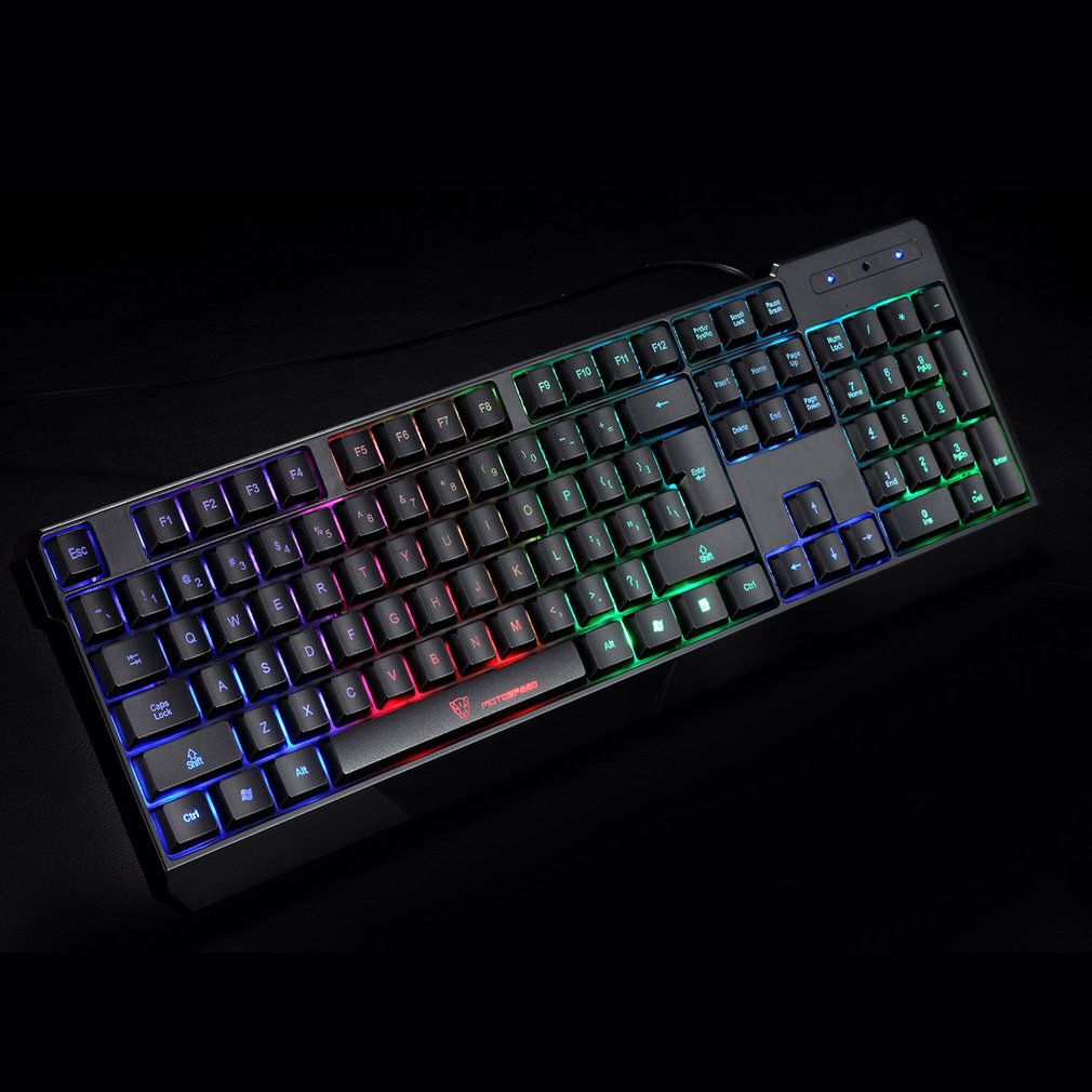 Wired Keyboard 104 Keys Blue Switch Rainbow Backlit Gaming for PC Game