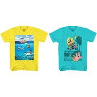 Spongebob Squarepants Boys 4-18 Shark & Skatepark Graphic T-Shirts, 2-Pack