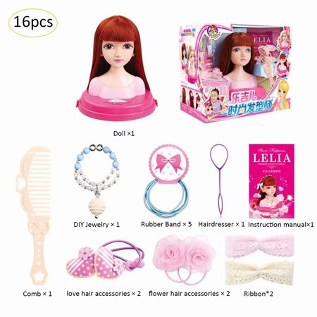 - Akoyovwerve Deluxe Styling Head Doll, Half-Length Hairstyle Doll with Cosmetic Headwear Practice Comb Toy Doll Head for Hairstyles