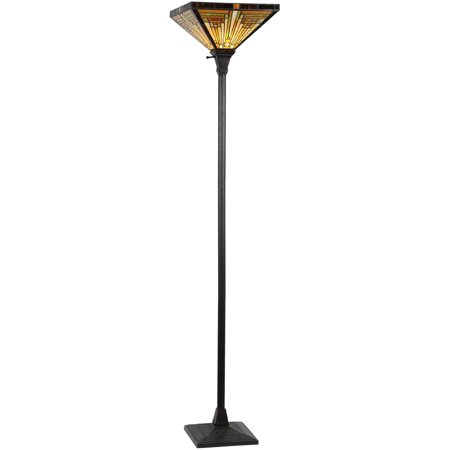 Chloe Lighting Innes Tiffany-Style 1-Light Mission Torchiere Floor Lamp with 14