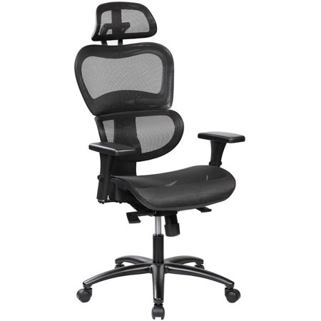 Swell Techni Mobili Saturn Ergonomic Mesh Office Chair With Adjustable Headrest And Arms Black Rta 5004 W Home Interior And Landscaping Transignezvosmurscom