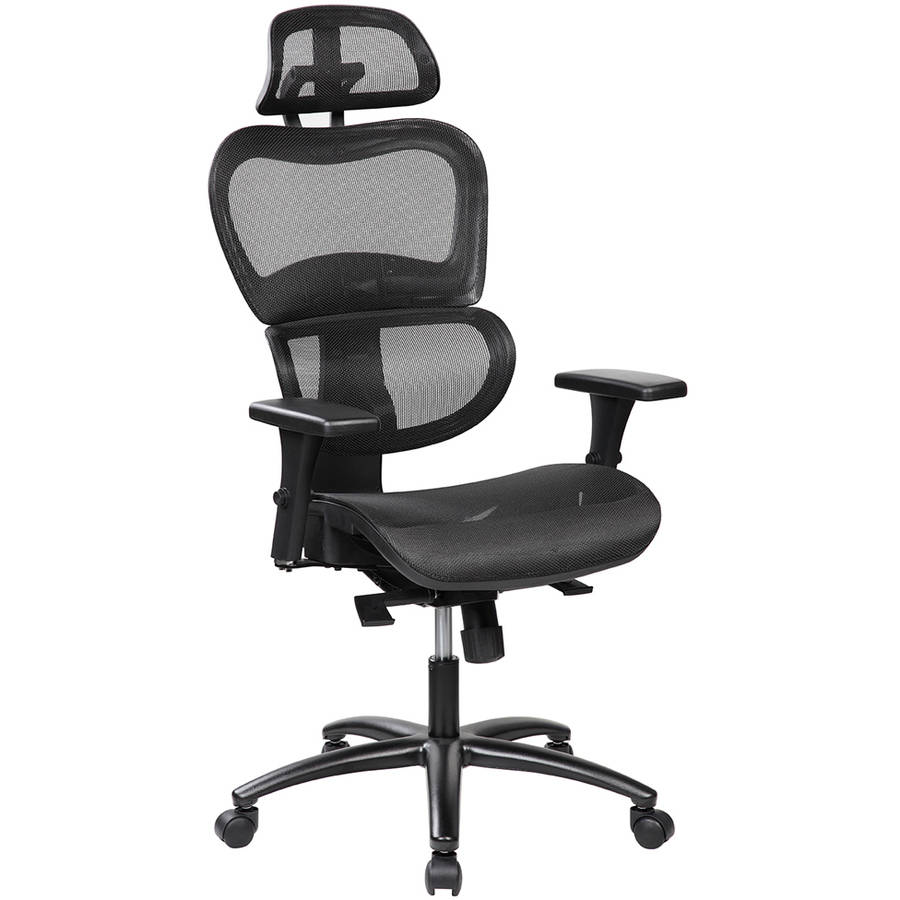 Techni Mobili Saturn Ergonomic Mesh Office Chair with Adjustable Headrest and Arms, Black (RTA-5004-W)