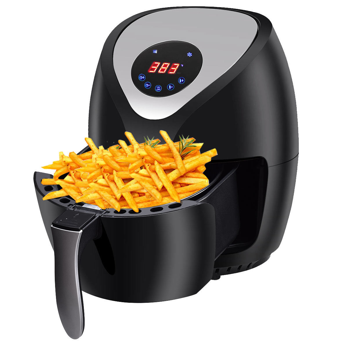 Gymax 1400W Electric Air Fryer Low-Fat Digital Touch Screen Timer Temperature Control