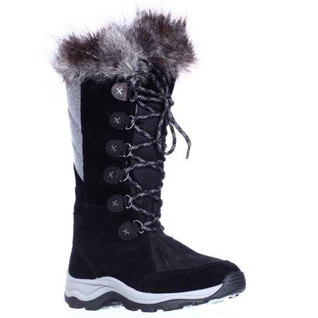 Womens Clarks Wintry Hi Waterproof FLeece Lined Lace Up Winter Boots, Black