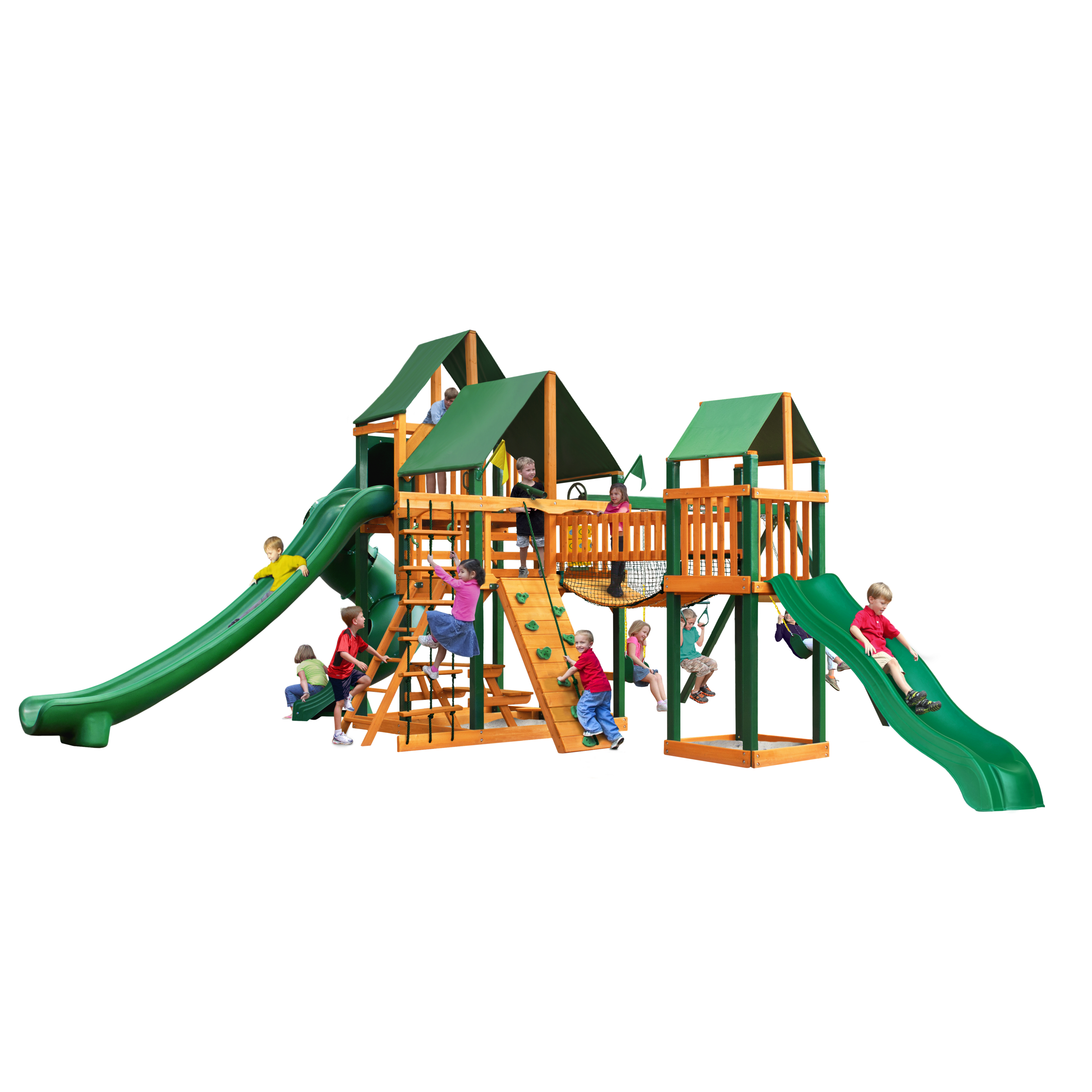 Gorilla Playsets Treasure Trove II Cedar Swing Set with Sunbrella® Canvas Canopy and Timber Shield™ Posts