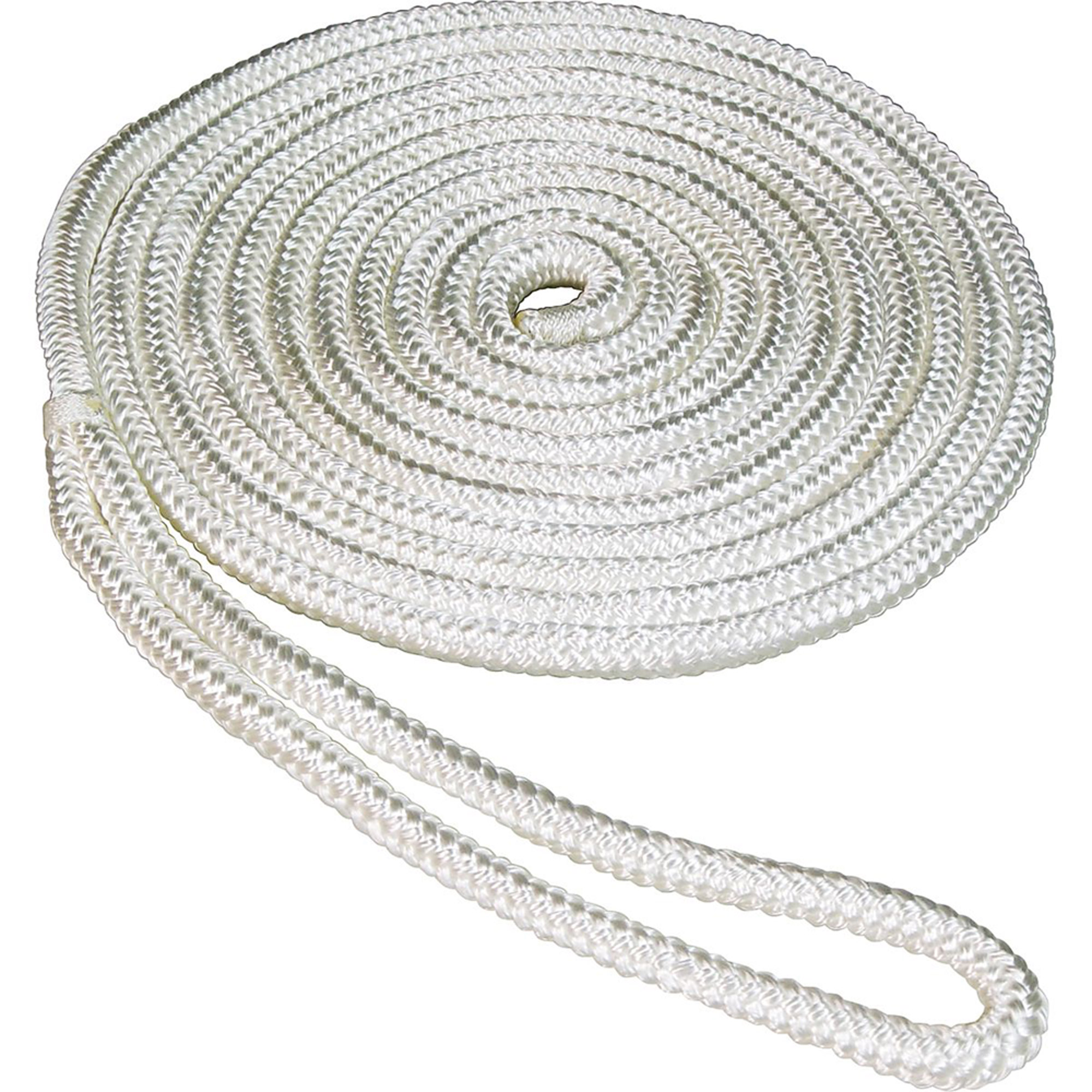 "Click here to buy SeaSense Double Braid Nylon Dock Line, 1 2"" x 35', 12"" Eye, White by Generic."
