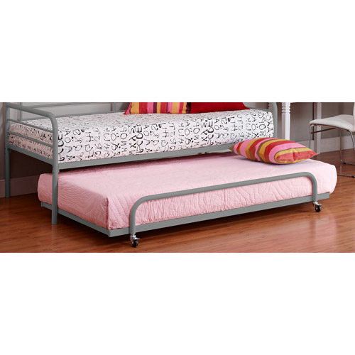 Twin Metal Daybed Trundle, Silver
