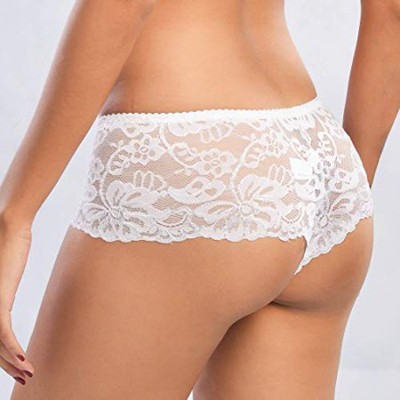 LoveByCho Packs of 4 Women Hipster Panties Floral Lace Boyshorts Cheeky (Lace Cheeky Boyshorts Panties)
