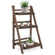 Best Choice Products 3-Tier Indoor Outdoor Multipurpose Folding Wood Plant Storage Display Rack Stand for Flowers, Succulents, Books, Pictures