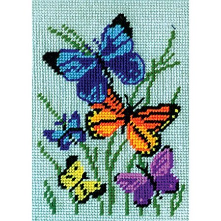 Butterflies Galore Needlepoint Kit  5  X 7  Stitched In Yarn