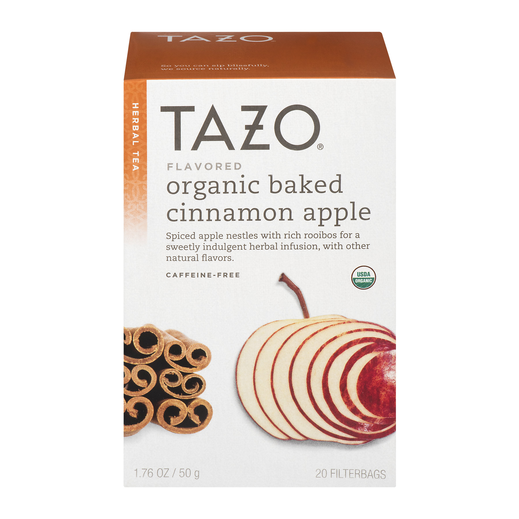 Tazo® Organic Baked Cinnamon Apple Caffeine-Free Herbal Tea Tea Bags 20 ct. Box