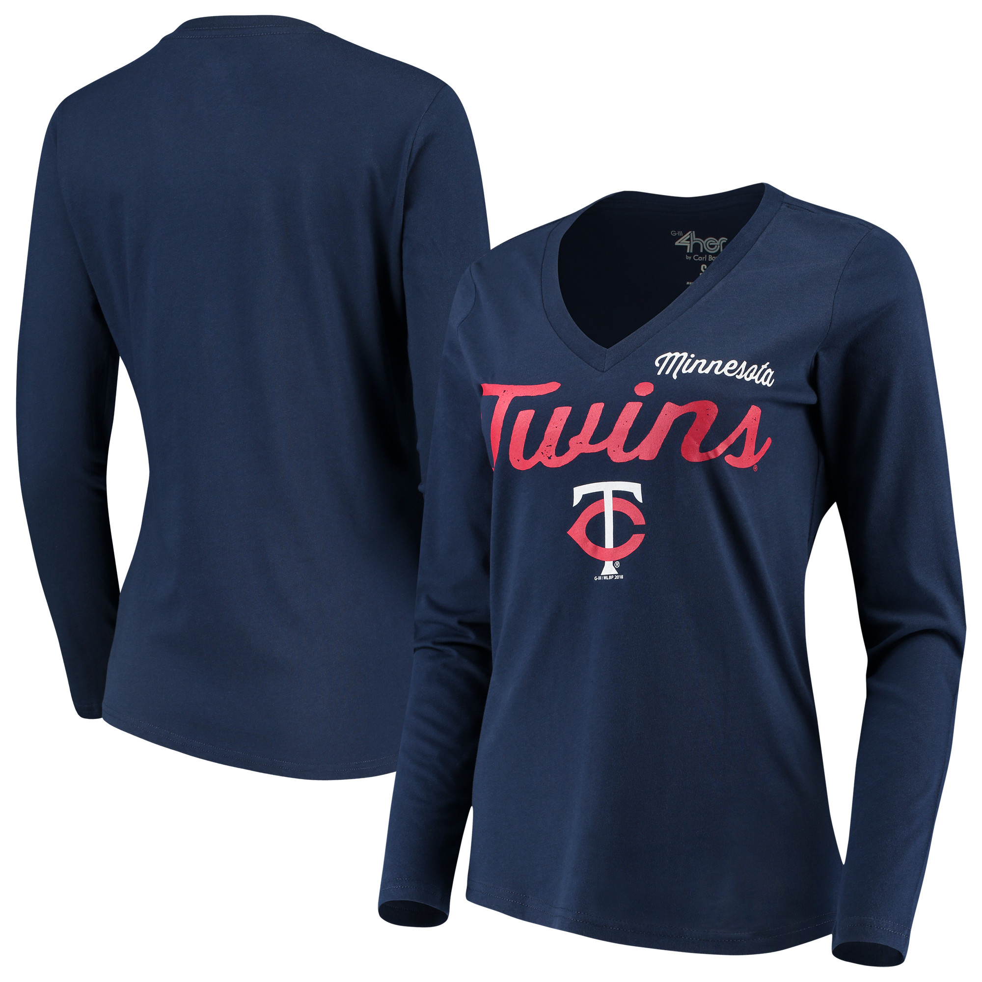 Minnesota Twins G-III 4Her by Carl Banks Women's Preseason Long Sleeve V-Neck T-Shirt - Navy