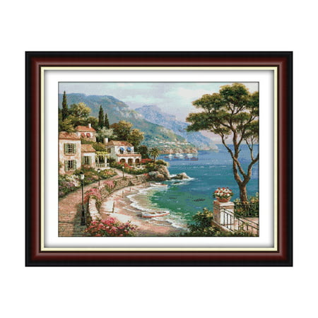 Decdeal 24.8 * 19.7 inches Harbor of Pattern Cross Stitch Kit with Pre-printed 14CT Canvas Cloth & Cotton Thread Embroidery Cross-Stitching Needlework Home Wall Decor ()