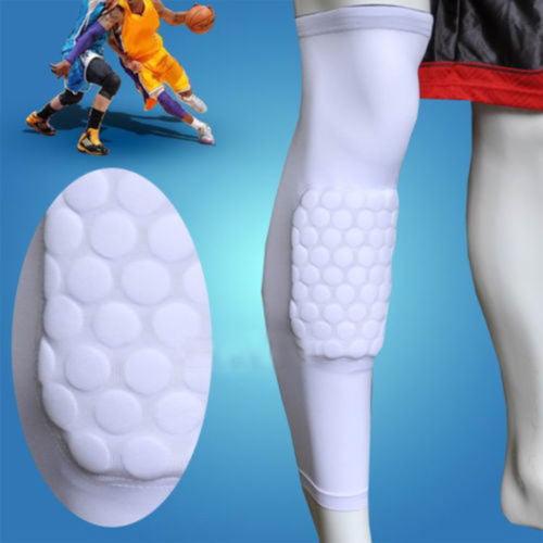 AGPtek 1 Piece Strengthen Kneepad Honeycomb Pad Basketball Leg Knee Long Sleeve Protective Pad White L size