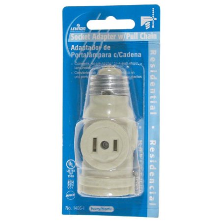 Leviton Electrolier Socket - Leviton  C23-01406-00I Ivory 2 Outlet Lamp Socket & Pull Chain