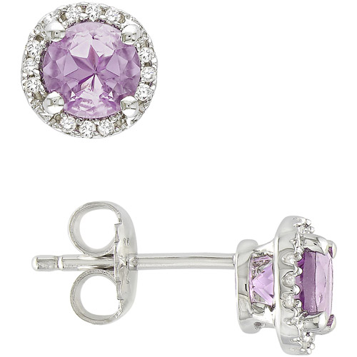 4/5 Carat T.G.W. Round Cut Amethyst and Diamond Accent Sterling Silver Stud Earrings