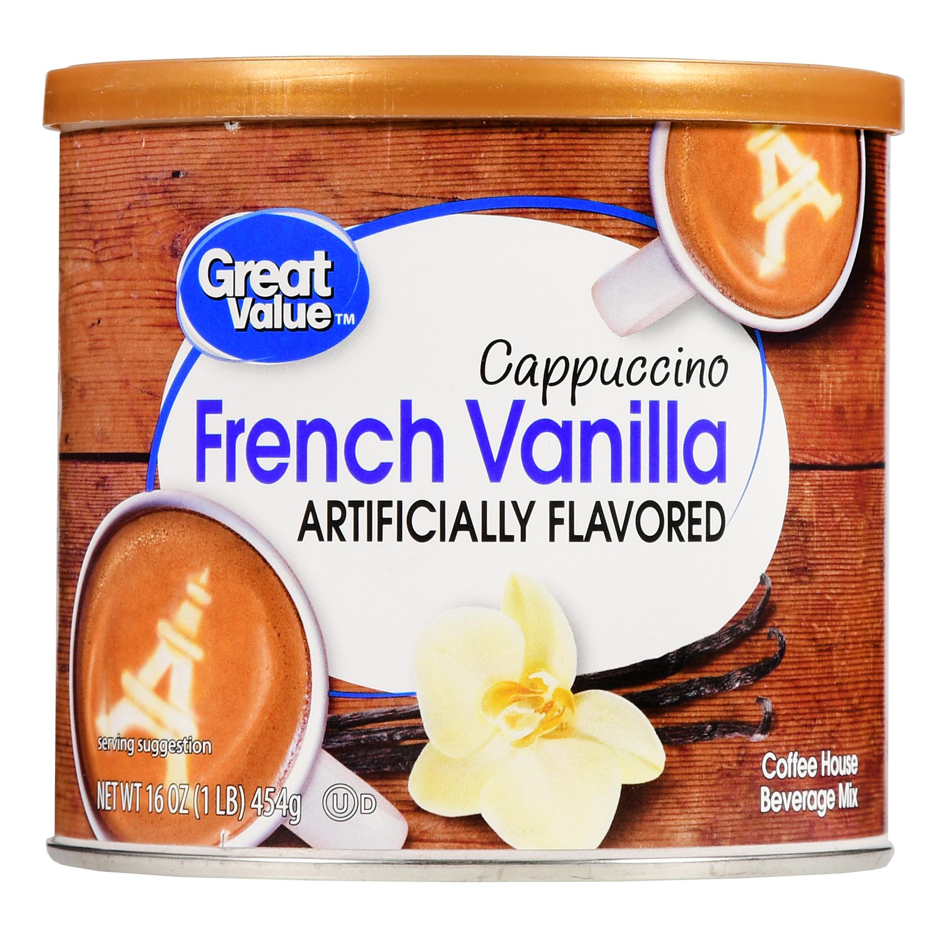 Great Value Cappuccino Beverage Mix French Vanilla 16 oz Walmart