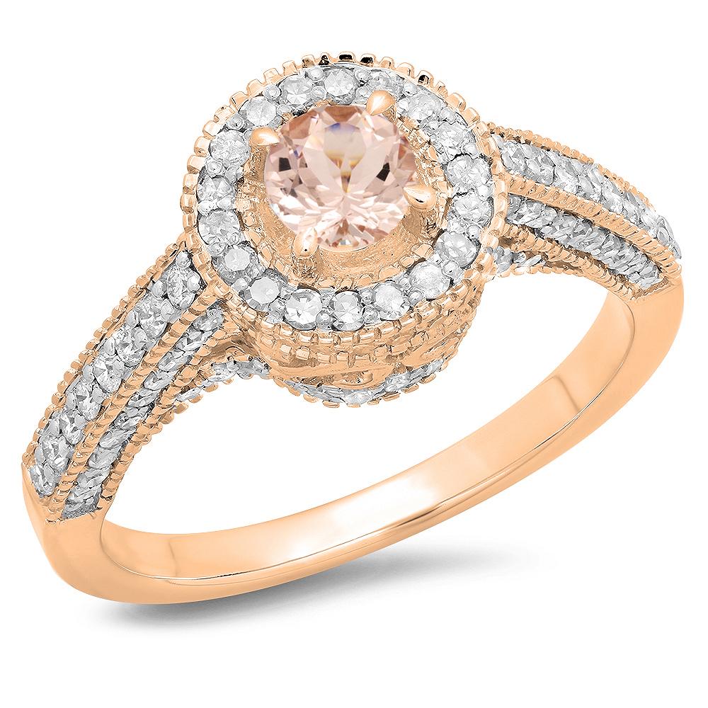 1.00 Carat (ctw) 10K Rose Gold Round Morganite & White Diamond Ladies Bridal Vintage Halo Style Engagement Ring 1 CT
