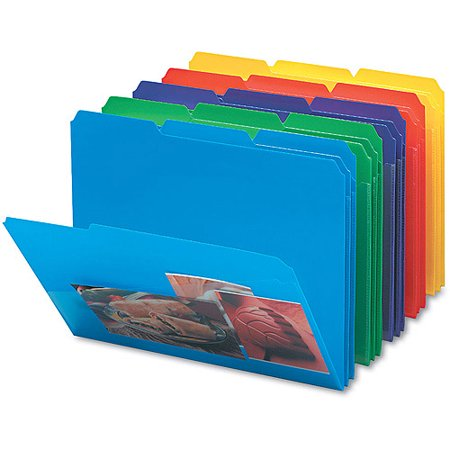 Smead Slash Pocket Poly File Folders Assorted 30 Box