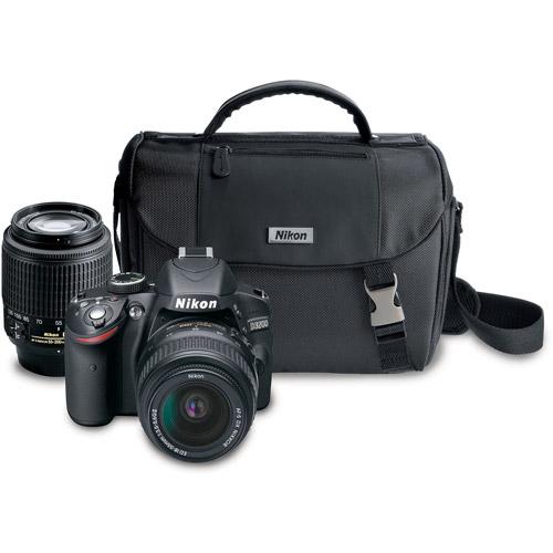 Nikon Black D3200 Digital SLR Camera with 24.2 Megapixels, Includes 18-55mm and 55-200mm Lenses, PLUS Carrying Case