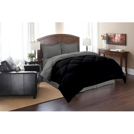 Celine Linen  Goose Down Alternative Reversible 3pc Comforter Set-, King/Cal King, Black/Gray