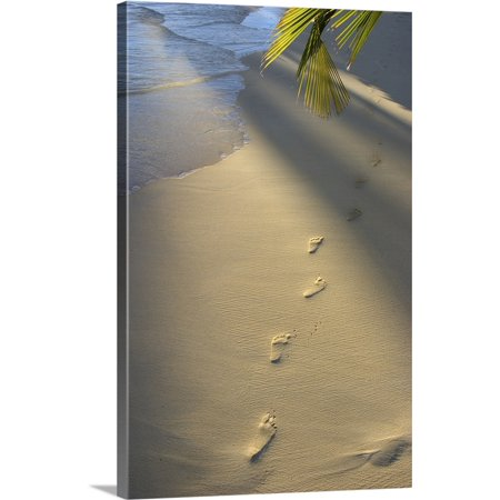 Great BIG Canvas | Tomas Del Amo Premium Thick-Wrap Canvas entitled Footprints In Sand At Water