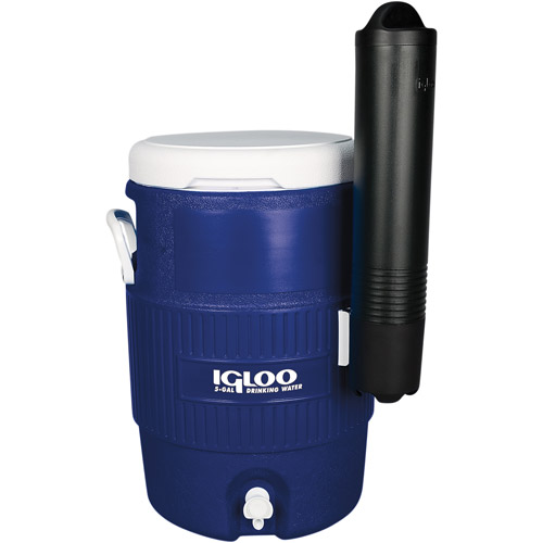 Igloo Beverage Cooler 5-Gal Seat Top with Cup Dispenser, Majestic Blue