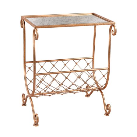 Sterling Heavy Metal End Table in Copper and Black Mirror