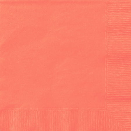 (3 Pack) Paper Luncheon Napkins, 6.5 in, Coral, 20ct - Coral Paper Napkins