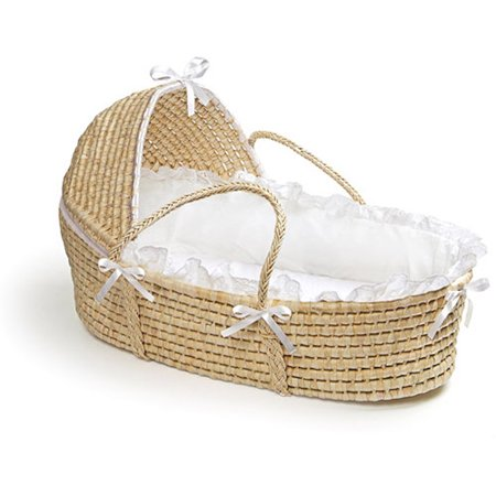 Badger Basket - Natural Moses Basket with Hood and White
