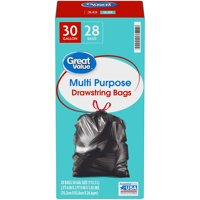 Great Value 30 Gallon Multi Purpose Large Drawstring Trash Bags 28 ct Box