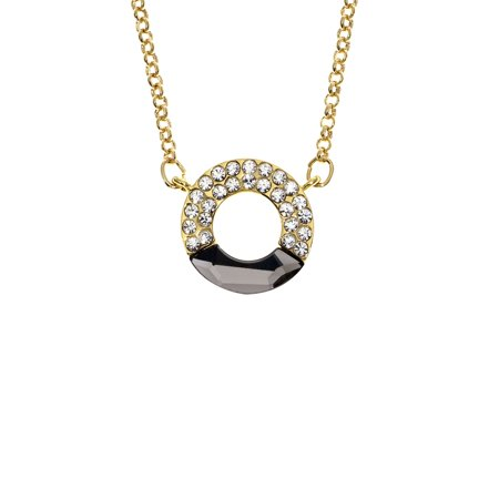 14k gold plated circle necklace w white crystal black diamond 14k gold plated circle necklace w white crystal black diamond swarovski stone aloadofball Gallery