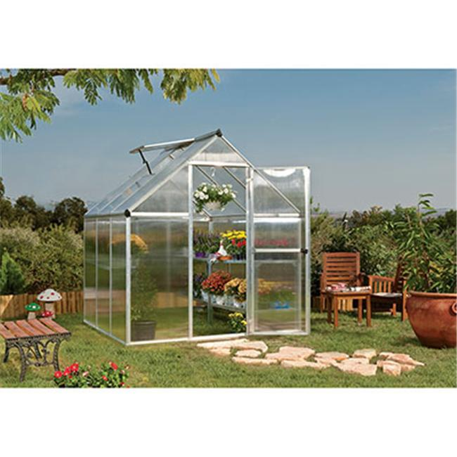 Palram HG5006 Nature 6' x 6' Greenhouse Silver Frame Twin-Wall by Palram