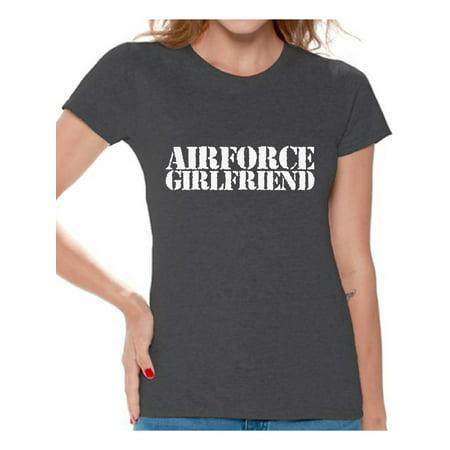 Awkward Styles Airforce Girlfriend Shirt Airforce Girlfriend T Shirt Valentine's Day Gift for Proud Airforce Girlfriend Valentine Shirts for Women Airforce Tshirt Women's Valentines Airforce (Unique Gift For Girlfriend On Valentine Day)