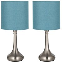 Deals on Modern Nightstand Lamps Set of 2 w/Metal Base and Blue Fabric Shade