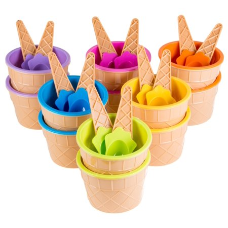 Green Direct Plastic Ice Cream Cups with Spoons - Ice Cream Bowls Pack of 12