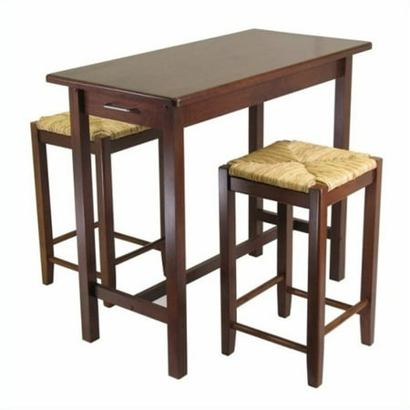 Pemberly Row 3 Piece Kitchen Island Rectangular Casual Dining Set in Antique Walnut - image 3 of 3