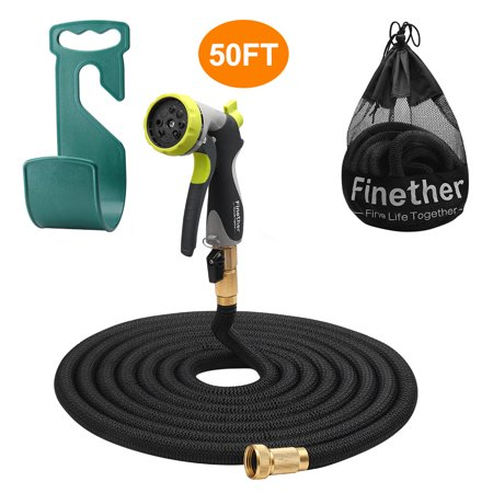 3 Way Latex - Finether Expandable Garden Hose, Retractible Watering Hose, Hose Pipe with Double Latex Core, High Density Woven Fabric, 3/4 In Brass Fittings, 8 Way Spray Nozzle, Hanger, Storage Bag, Black 50ft