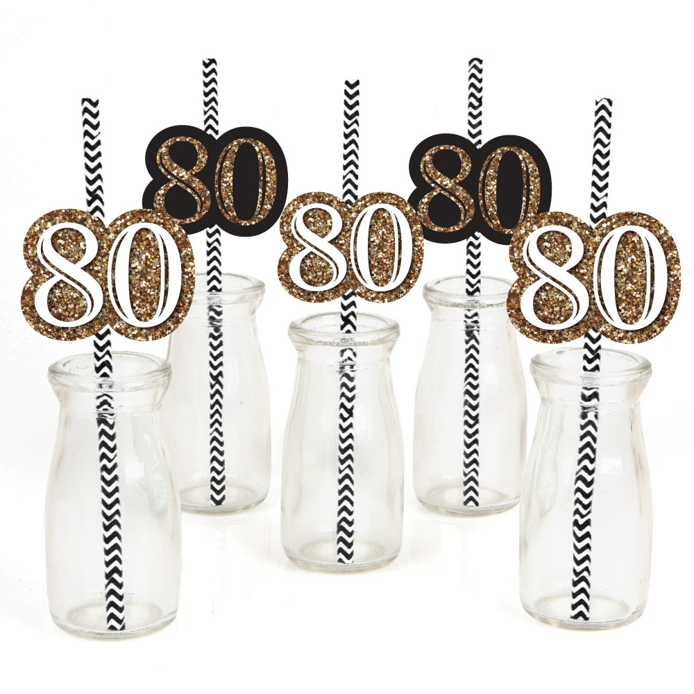Adult 80th Birthday - Gold - Paper Straw Decor - Birthday Party Striped Decorative Straws - Set of 24
