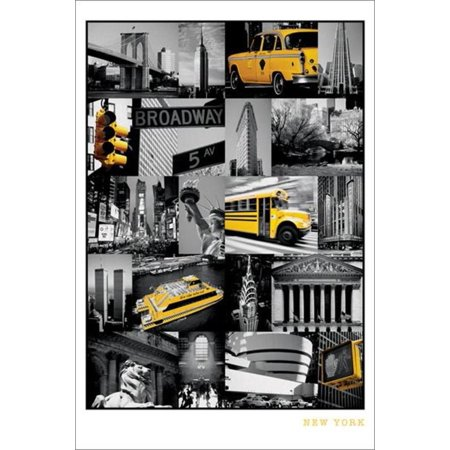 New York City NYC Collage Landmarks Yellow Taxi Travel Tourism Poster - 24x36 inch