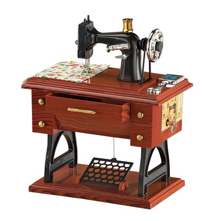 Animated Antique Sewing Machine Tabletop Music Box Complete With Delectable Antique Pedal Sewing Machine