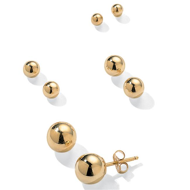PalmBeach Jewelry 21687 14k Yellow Gold 4 Pairs Ball Stud Earrings Set