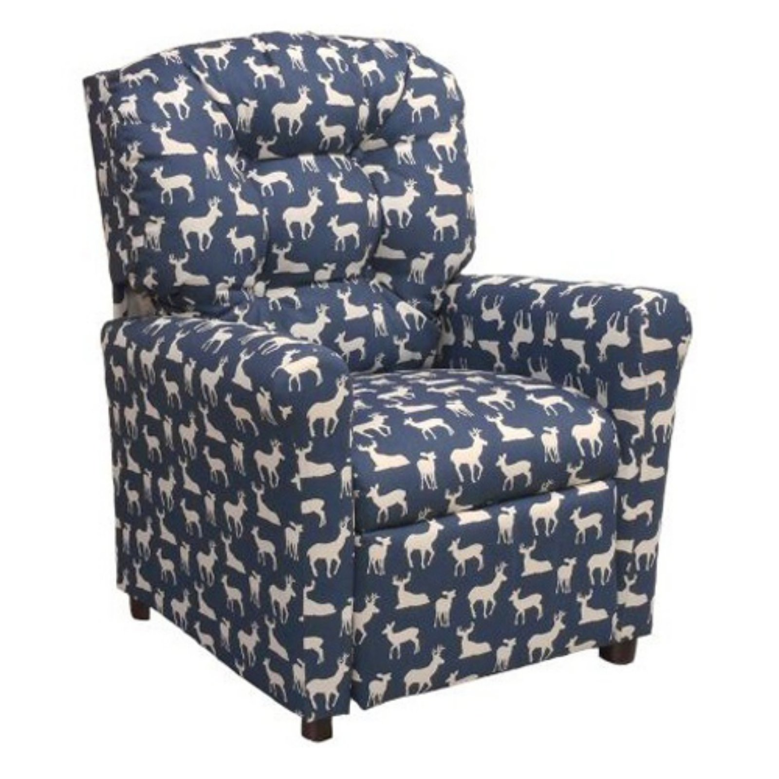 Brazil Furniture 4-Button Back Child Recliner - Navy Deer