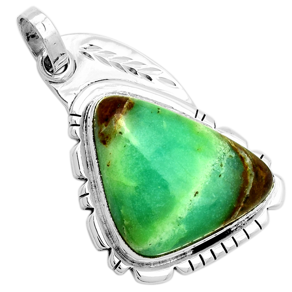 XTREMEGEMS Boulder Chrysoprase 925 Sterling Silver Pendant Jewelry 7152P by