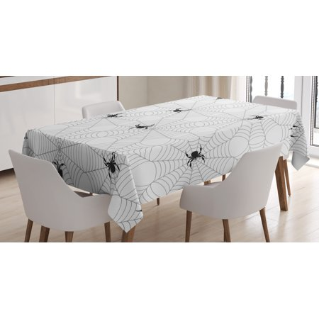 Spider Web Tablecloth, Pale Colored Webs with Spiders Scary Black Insects Sticky Network, Rectangular Table Cover for Dining Room Kitchen, 60 X 90 Inches, Black Pale Grey White, by Ambesonne](Spider Web Tablecloth)