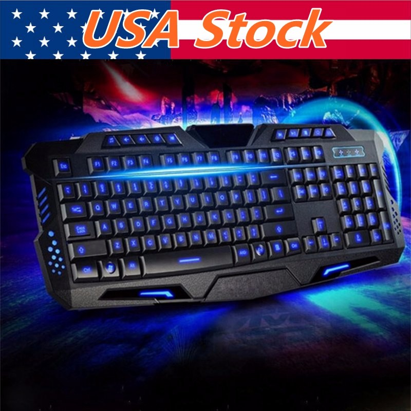 3 Colors Illuminated LED Backlight USB Wired Multimedia PC Gaming Crack Keyboard