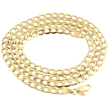 Mens Hollow 10K Yellow Gold 4.50 MM Cuban Curb Link Chain Necklace 16 (Baby Curb Link)