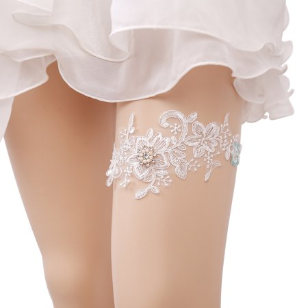 Bridal Garter Elegant Elastic Rhinestone Artificial Pearl Lace Garter for Wedding Prom Party