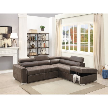 Breathable Leatherette 2 Piece Sectional Convertible Sofa In Dark Coffee Brown